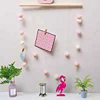 AceList 木製壁掛け飾り DIY 写真 吊り下げ ワイヤー 紐 写真 プリント アートワーク ピンク HM532P