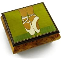 優雅なバレリーナ's Pointe靴Wood Inlay音楽ジュエリーボックス 128. Funiculi Funicula MBA17BALLSHOE