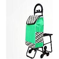 ショッピングカートポータブルプルトラック高齢者折り畳み式ベルトレバーカーホームトローリー (色 : Green, サイズ さいず : With seat)