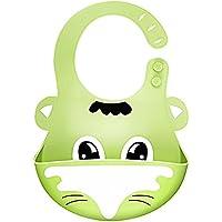 Wagako ベビー用 食事スタイ よだれかけ ビブ 赤ちゃん エプロン 柔らかい 防水 食洗機使用可能 3階段調節 可愛い動物柄 立体ポケット付き シリコン製 グリーン