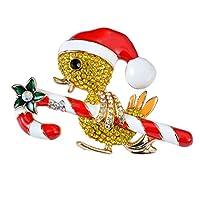 BESTOYARD クリスマスブローチピンズアヒルキャンディキャンデスラインストーンクリスタルブローチクリスマスピンホリデーパーティージュエリーアクセサリー女性のためのギフトGirls(Yellow)
