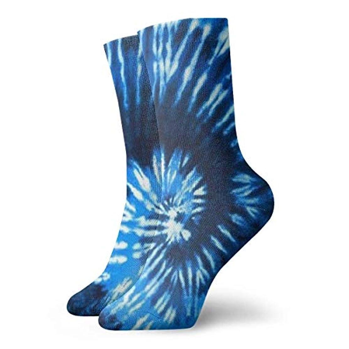 疲労経済的甘やかすQrriy女性のブルータイ染めソフトクリスマス膝高ストッキング靴下、クリスマス楽しいカラフルな靴下ソックス