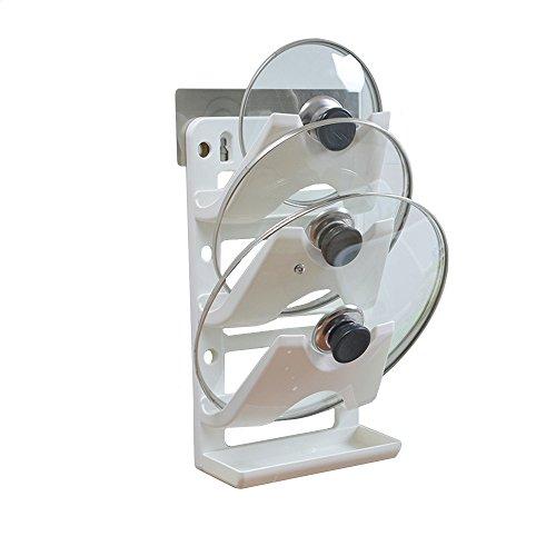 まな板 包丁 鍋ふたスタンド 立て収納ホルダー ネジなし 壁掛け 移動可能 ホワイト (3段調整可)