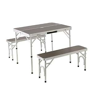 アルミテーブル チェアセット ダークブラウン 2WAY セパレート ピクニック アウトドア ベンチ ALPT-90