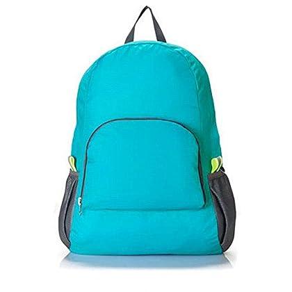 バッグパック 折りたたみ式 超軽量 撥水リュックサック (ブルー)