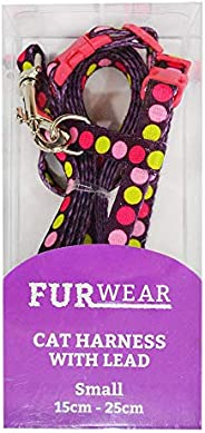 Furwear Fashion Cat Harness with Lead, Small, Pink/Lime on Maroon
