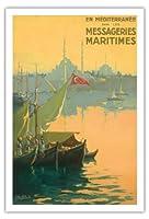 七面鳥, 出荷宅配便で地中海 - ボスポラス(イスタンブール海峡)トルコ - ビンテージな遠洋定期船のポスター によって作成された ギルバート・ギャランド c.1925 - アートポスター - 76cm x 112cm