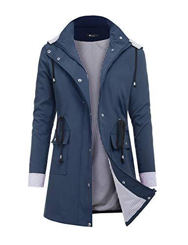 RAGEMALL Women's Raincoats Windbreaker Rain Jacket Waterproof Lightweight Outdoor Hooded Trench Coats - - Large