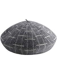 ベレーズレディースペインターハットチェッカーベレー春と秋冬ウール帽子レトロファッションビーニーハット (色 : Gray)