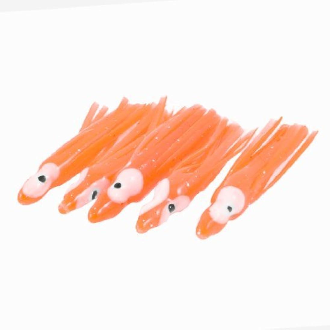 猛烈な誘惑する金額5個のソフトシリコンタコ型オレンジレッド釣り餌2