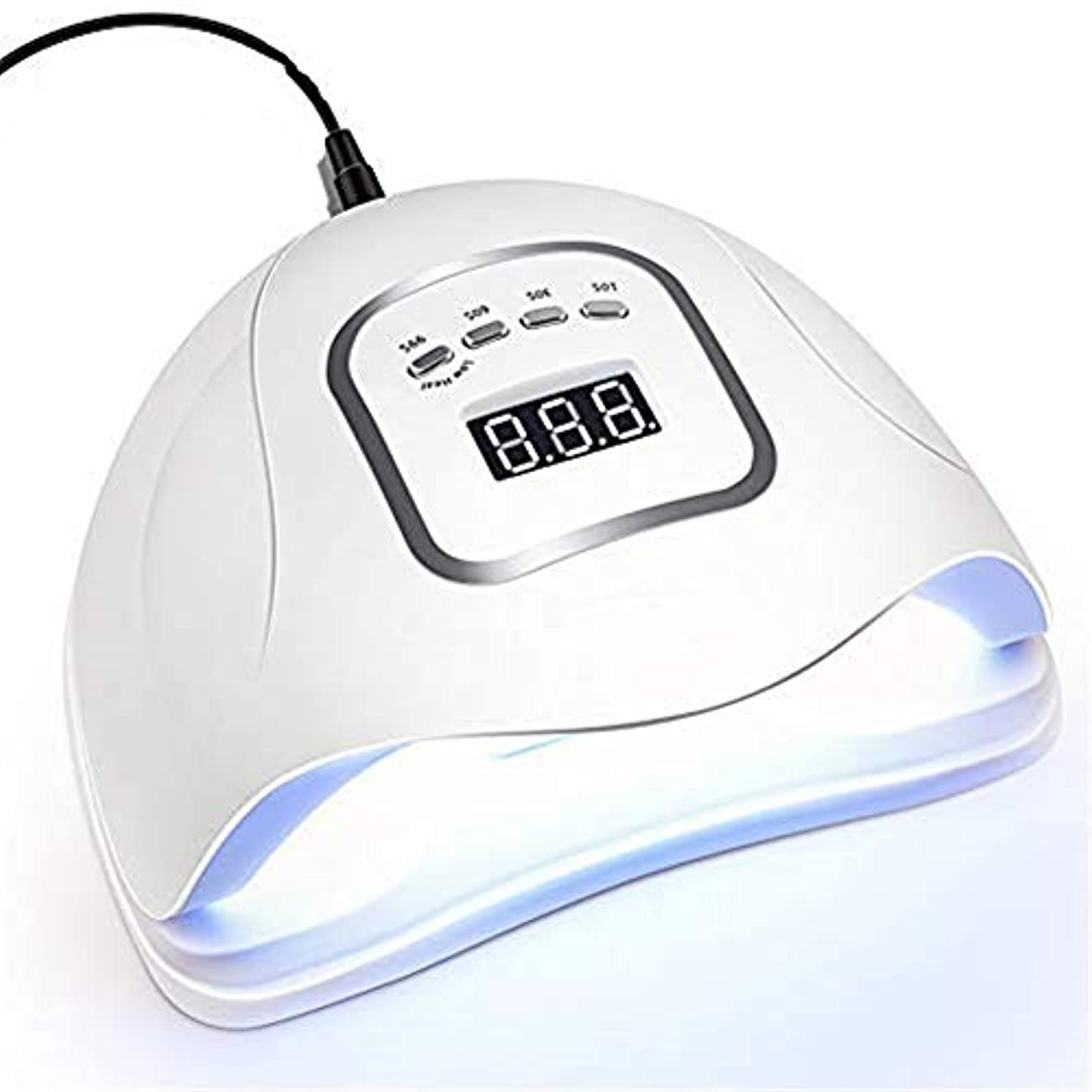 パスポートレンチヘッジ45個のランプビーズ付きUV LEDネイルランプ、すべてのジェルポリッシュ用の高速ネイルドライヤー、自動センサー付きマニキュア用UV光カットランプ&4つのタイマー、LCDディスプレイ