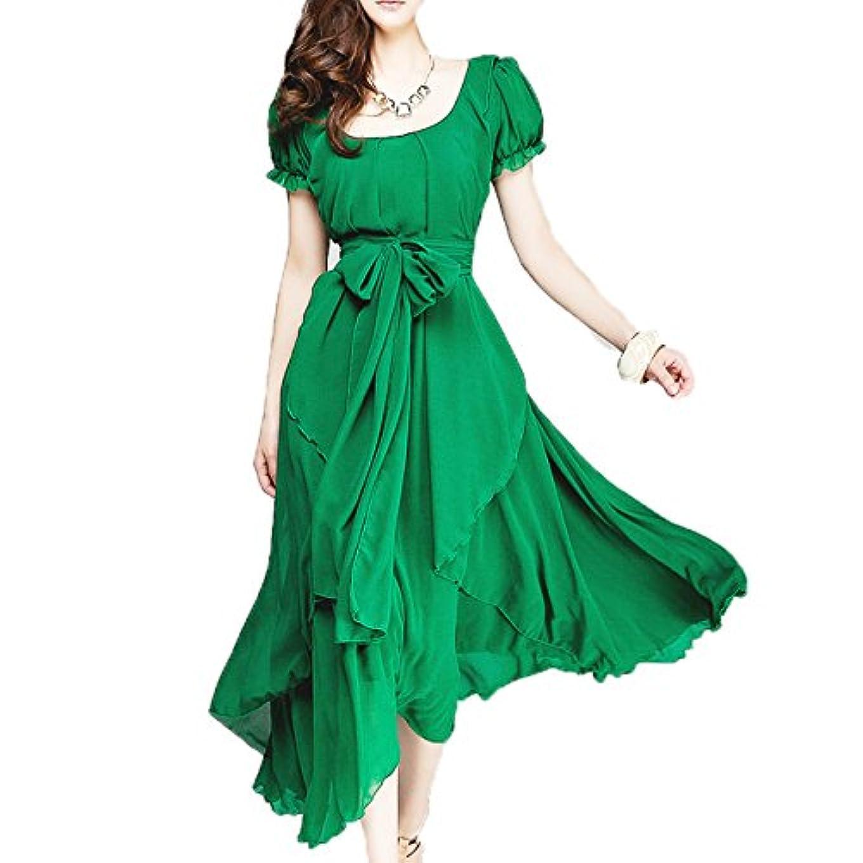 庭園うま乗算[ココチエ] フォーマル ワンピース ドレス ロング ふんわり シフォン ベルト 半袖 袖あり ブラック レッド グリーン