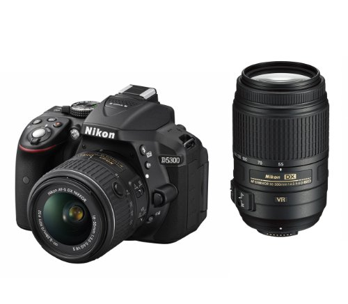 Nikon デジタル一眼レフカメラ D5300 ダブルズームキット ブラック 2400万画素 3.2型液晶 D5300WZBK