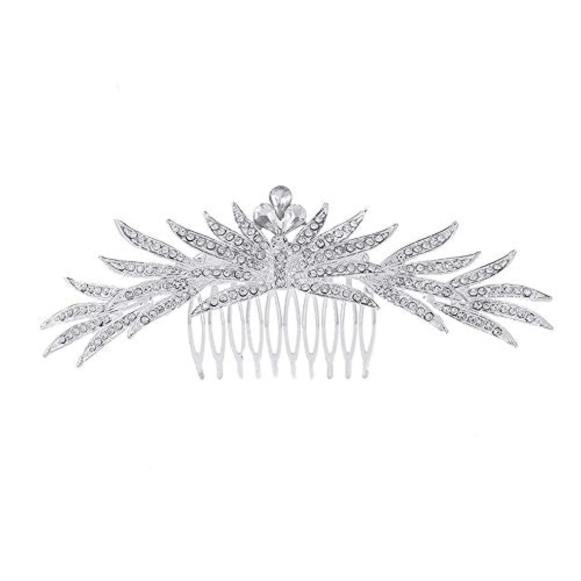 プラス経験者ラップトップ髪の櫛の櫛の櫛花嫁の髪の櫛ラインストーンの櫛亜鉛合金ブライダルヘッドドレス結婚式のアクセサリー挿入櫛