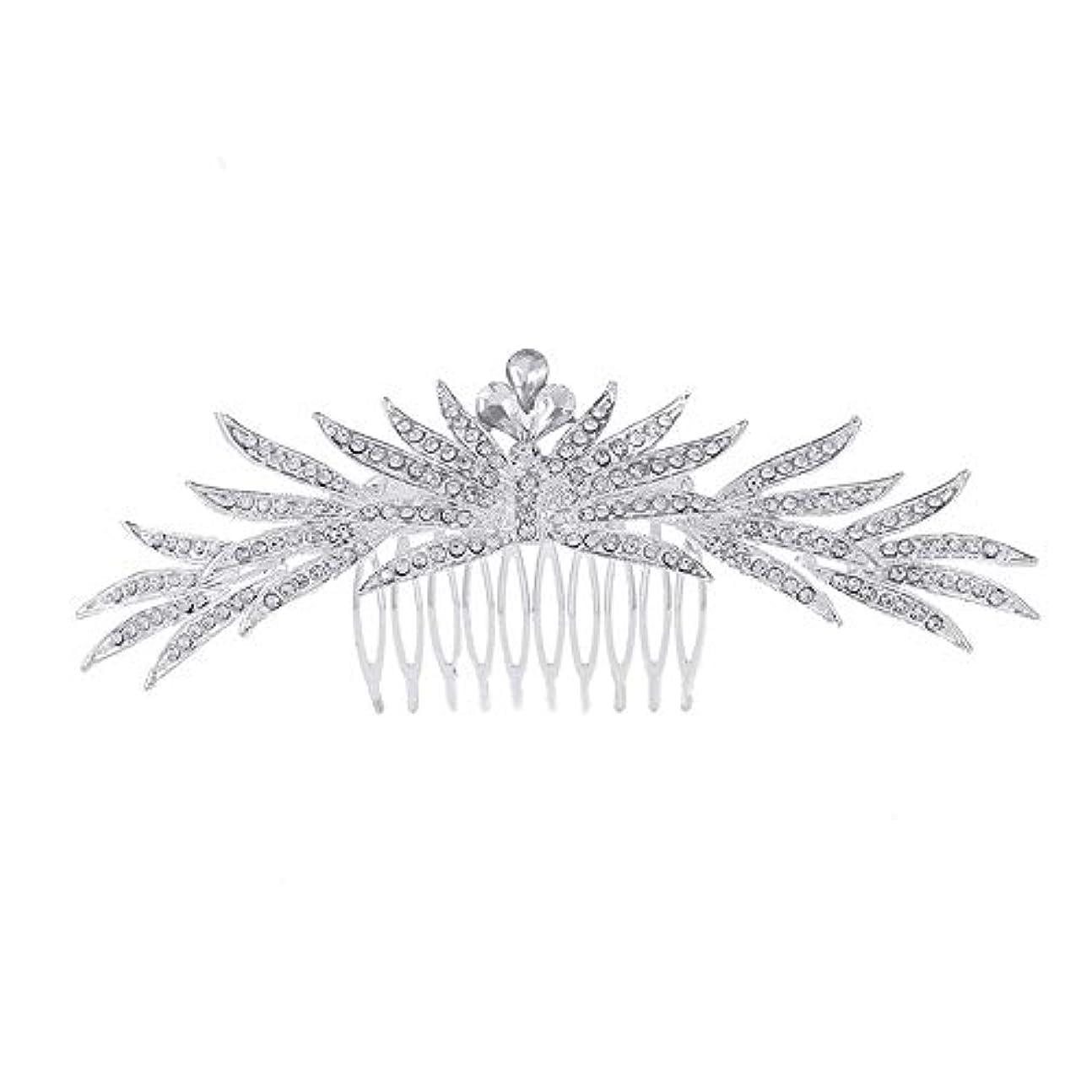 倒錯依存支援髪の櫛の櫛の櫛花嫁の髪の櫛ラインストーンの櫛亜鉛合金ブライダルヘッドドレス結婚式のアクセサリー挿入櫛