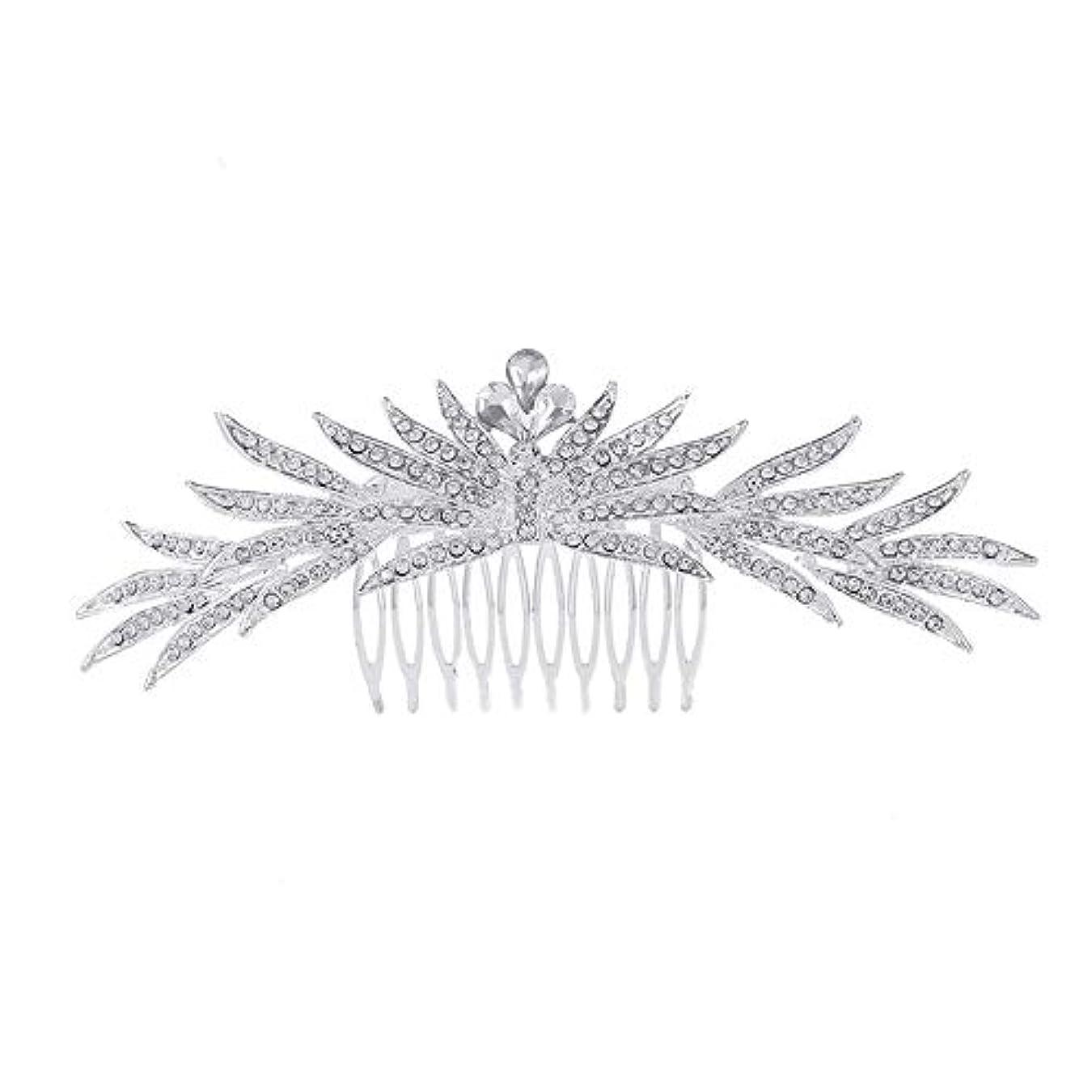 ミント腐敗した謙虚な髪の櫛の櫛の櫛花嫁の髪の櫛ラインストーンの櫛亜鉛合金ブライダルヘッドドレス結婚式のアクセサリー挿入櫛