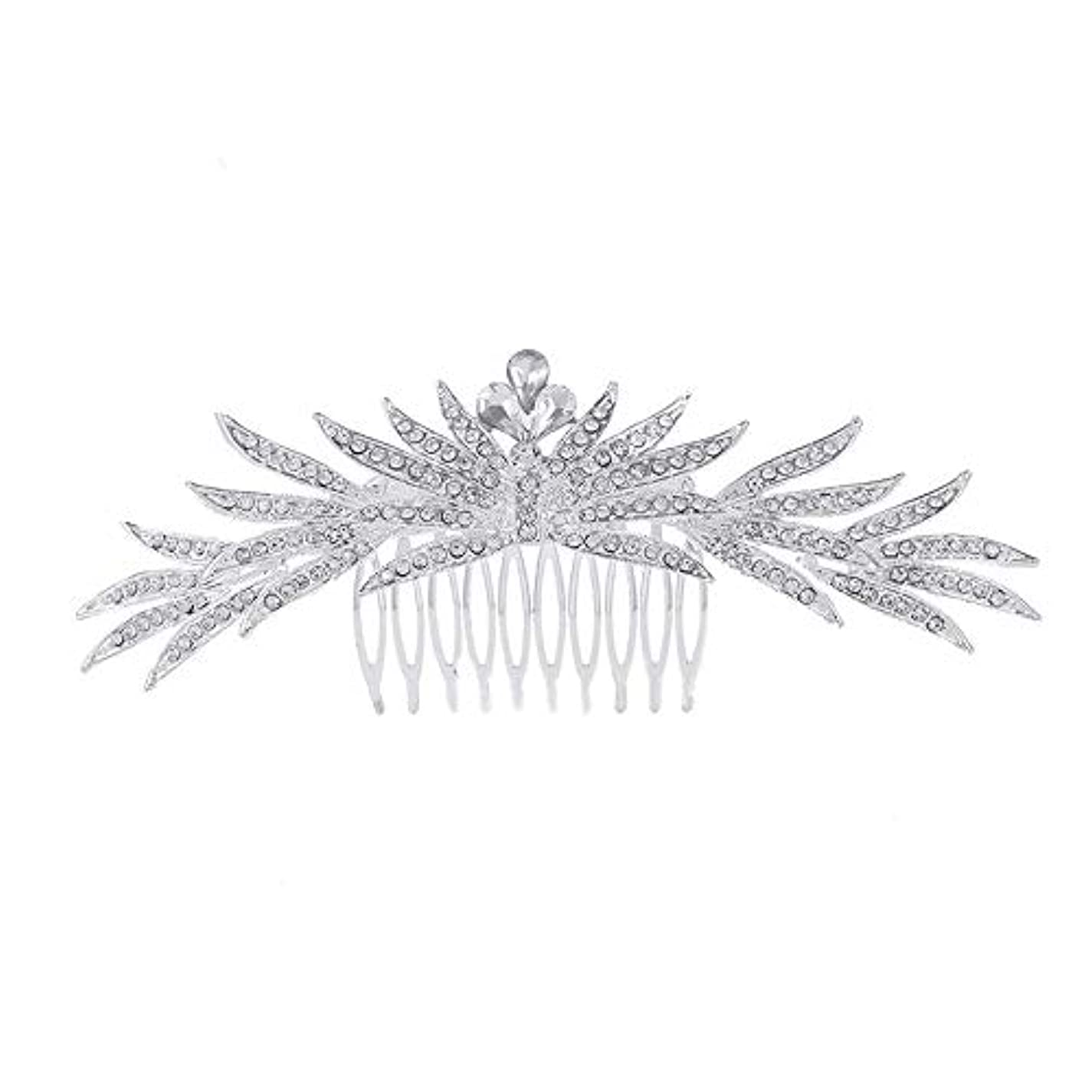 アルバニーアラートインストラクター髪の櫛の櫛の櫛花嫁の髪の櫛ラインストーンの櫛亜鉛合金ブライダルヘッドドレス結婚式のアクセサリー挿入櫛