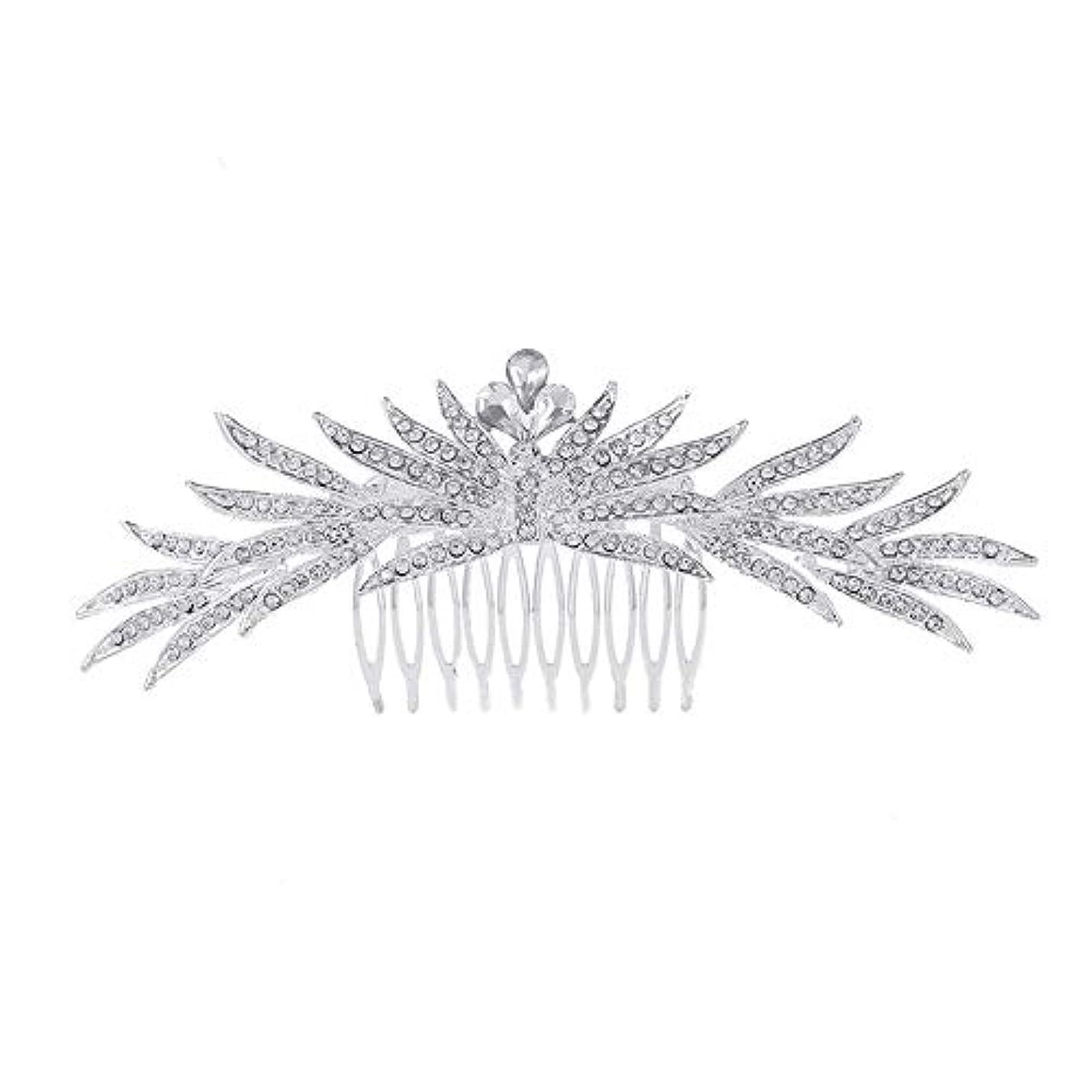 苦悩アルネ株式髪の櫛の櫛の櫛花嫁の髪の櫛ラインストーンの櫛亜鉛合金ブライダルヘッドドレス結婚式のアクセサリー挿入櫛
