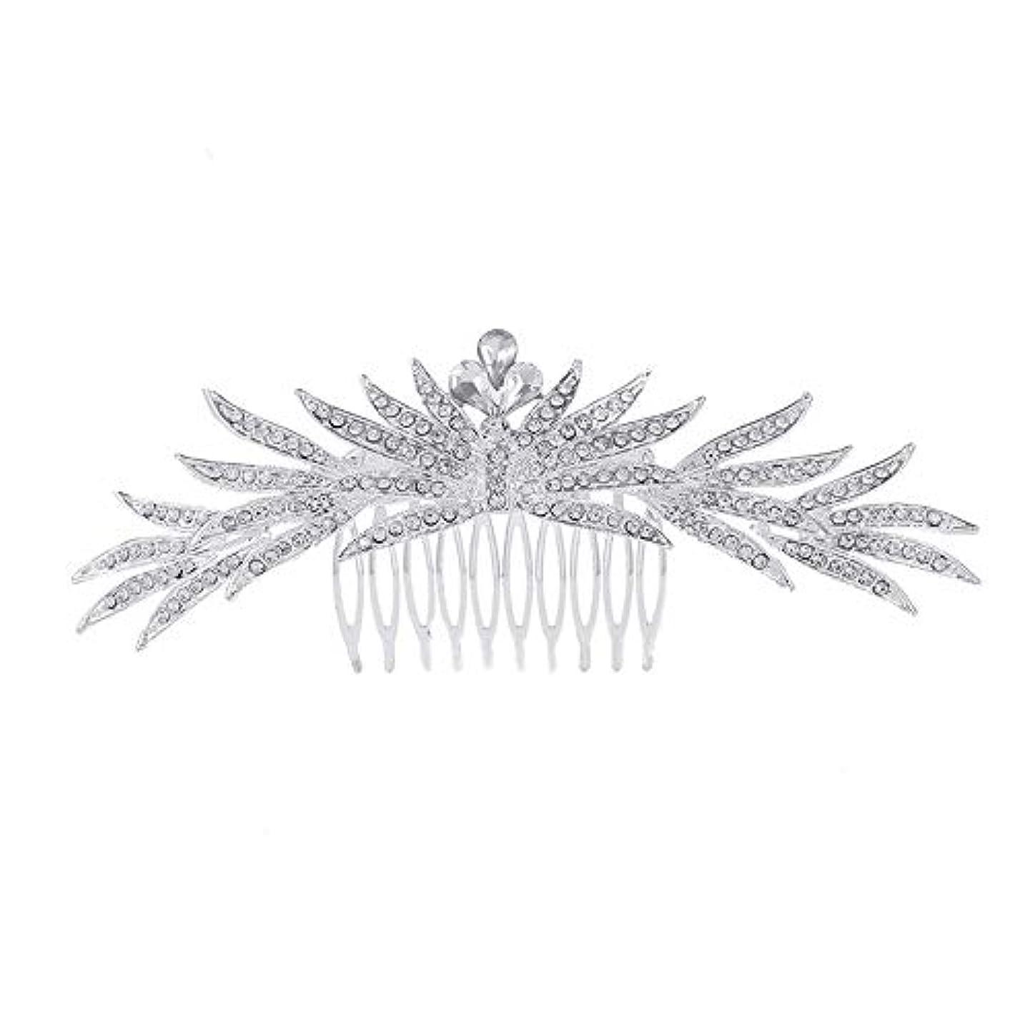 調子アラビア語ナチュラ髪の櫛の櫛の櫛花嫁の髪の櫛ラインストーンの櫛亜鉛合金ブライダルヘッドドレス結婚式のアクセサリー挿入櫛