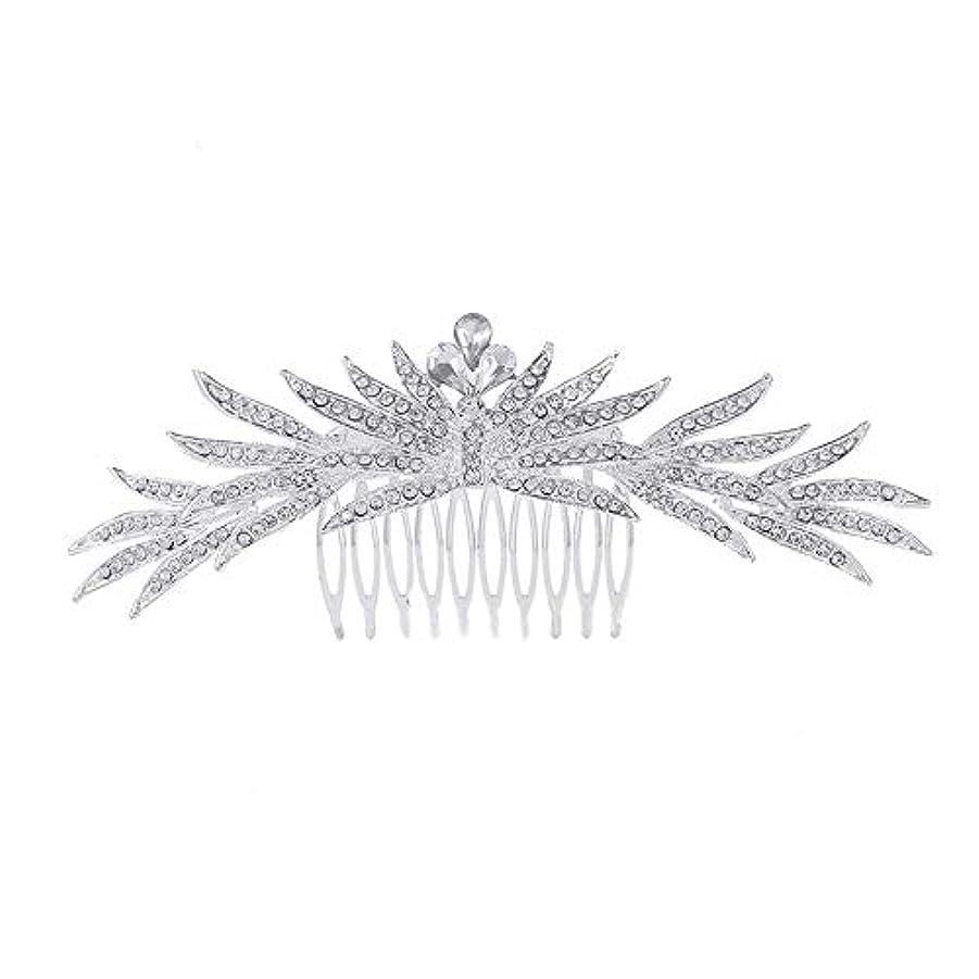 協力する省略バリア髪の櫛の櫛の櫛花嫁の髪の櫛ラインストーンの櫛亜鉛合金ブライダルヘッドドレス結婚式のアクセサリー挿入櫛