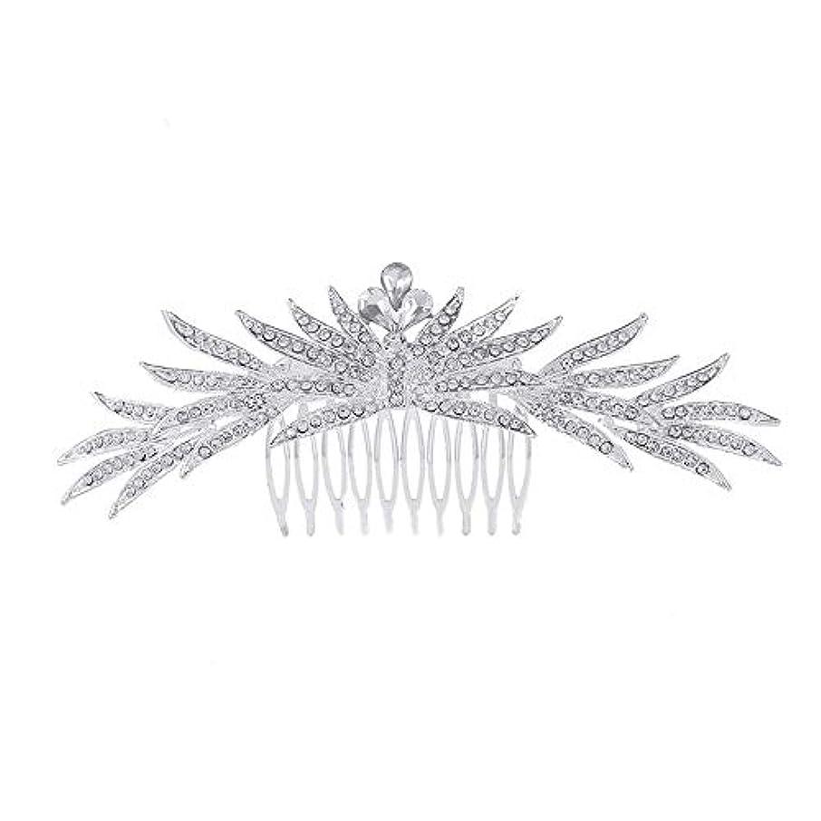 中央値食欲アメリカ髪の櫛の櫛の櫛花嫁の髪の櫛ラインストーンの櫛亜鉛合金ブライダルヘッドドレス結婚式のアクセサリー挿入櫛