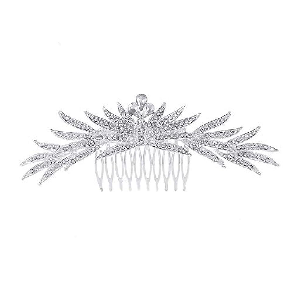 印刷する農夫ブリッジ髪の櫛の櫛の櫛花嫁の髪の櫛ラインストーンの櫛亜鉛合金ブライダルヘッドドレス結婚式のアクセサリー挿入櫛