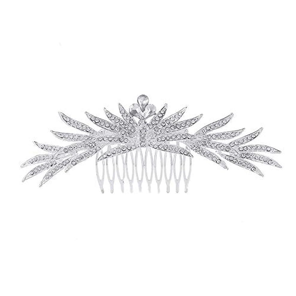 受粉する天使無人髪の櫛の櫛の櫛花嫁の髪の櫛ラインストーンの櫛亜鉛合金ブライダルヘッドドレス結婚式のアクセサリー挿入櫛