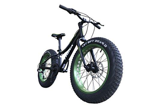 TRINX(トリンクス) ビーチクルーザー 【ファットバイク】迫力の20インチ 極太タイヤ Wディスクブレーキ&CNCディンプル加工アルミホイールに 軽量アルミフレーム とSHIMANO7速を組み合わせ走行シーンを選ばず目立つ! 比べてください! スペックと価格! 注目の1台 スノーバイク ビーチクルーザー FATBIKE T100 ブラック/グリーン 20インチ