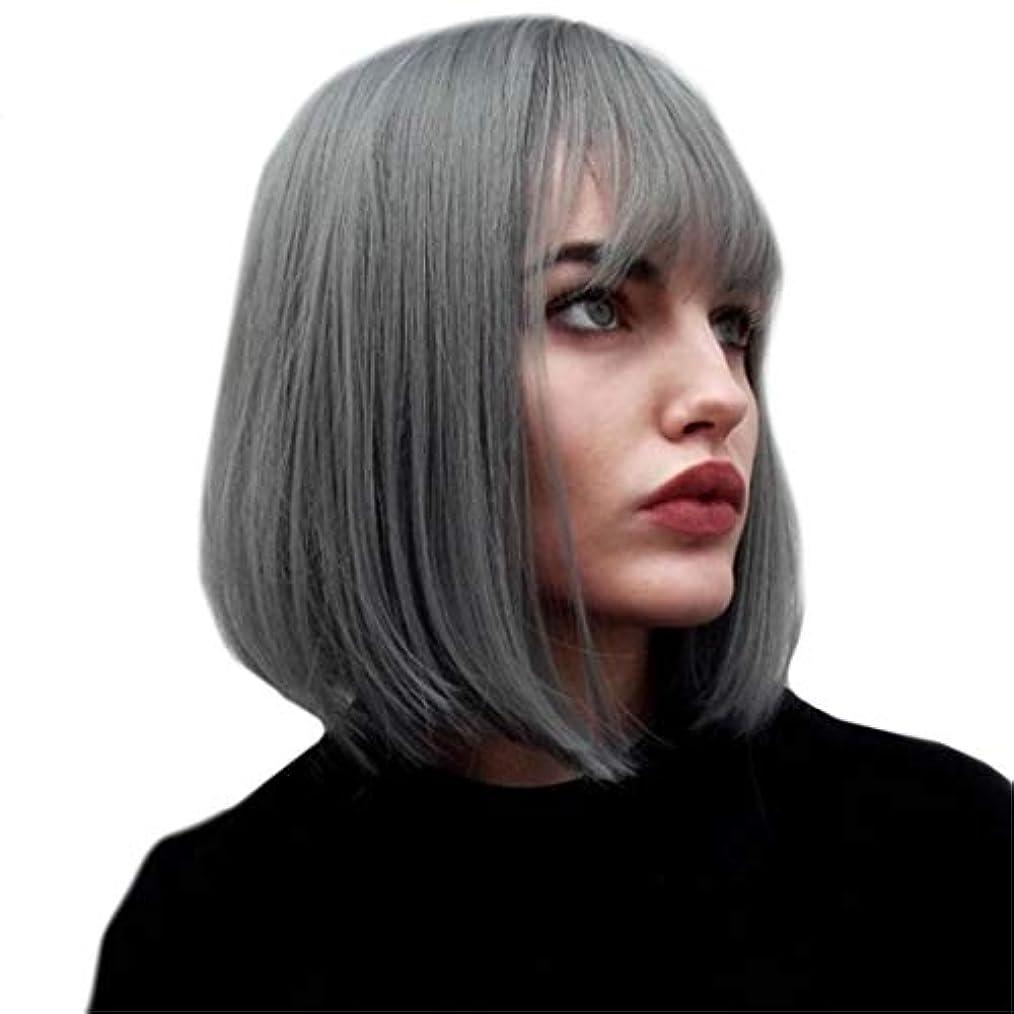 統計的生き残ります恐怖症Kerwinner ふわふわのショートストレートヘアボブウィッググレーショートヘアケミカルファイバーウィッグセット女性用
