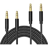 TERSELY 3.5mm Gold-Plated Auxiliary Audio Cable Aux Cord, [2 Pack] 1M/2M (3FT/6FT) Nylon Braided Male to Male for Headphones,iPods, iPhones, iPads,Tablets,Laptops,Android Samsung Smart Phones& More