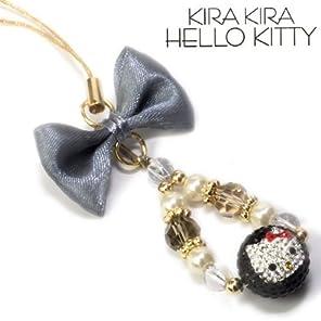 ハローキティ KIRAKIRA KITTY ストーン付ストラップ ブラック RKK-1-02