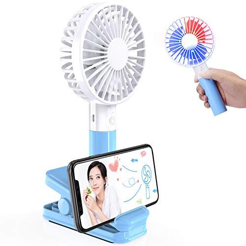 HOKONUI USB扇風機 クリップ 扇風機 卓上 ミニファン 手持ち扇風機 軽量 可愛い LEDライト搭載 スマホスタンド付き 大風量 3段階調節 360度調節 USBケーブル付き オフィス 熱中症対策 持ち運びに便利 ミニ扇風機 (ブルー)