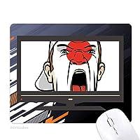 日本の旗の叫び顔の化粧キャップ ノンスリップラバーマウスパッドはコンピュータゲームのオフィス