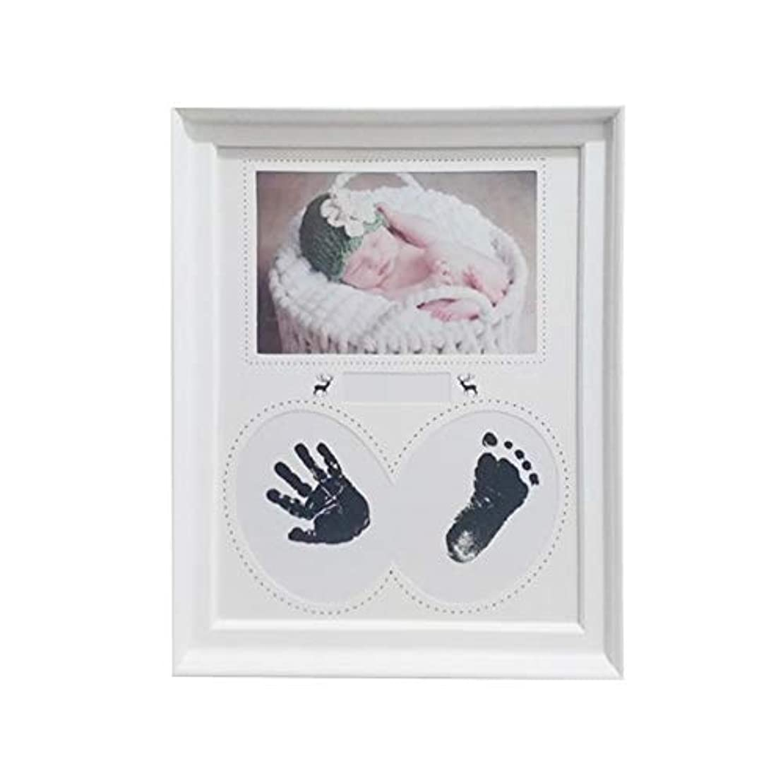 キャンディー勝つ石FECHO 赤ちゃん ベビーフォトフレーム?写真立て 手形 足形 ベビーフレーム 新生児 成長記録 木製フレーム5秒簡単速成