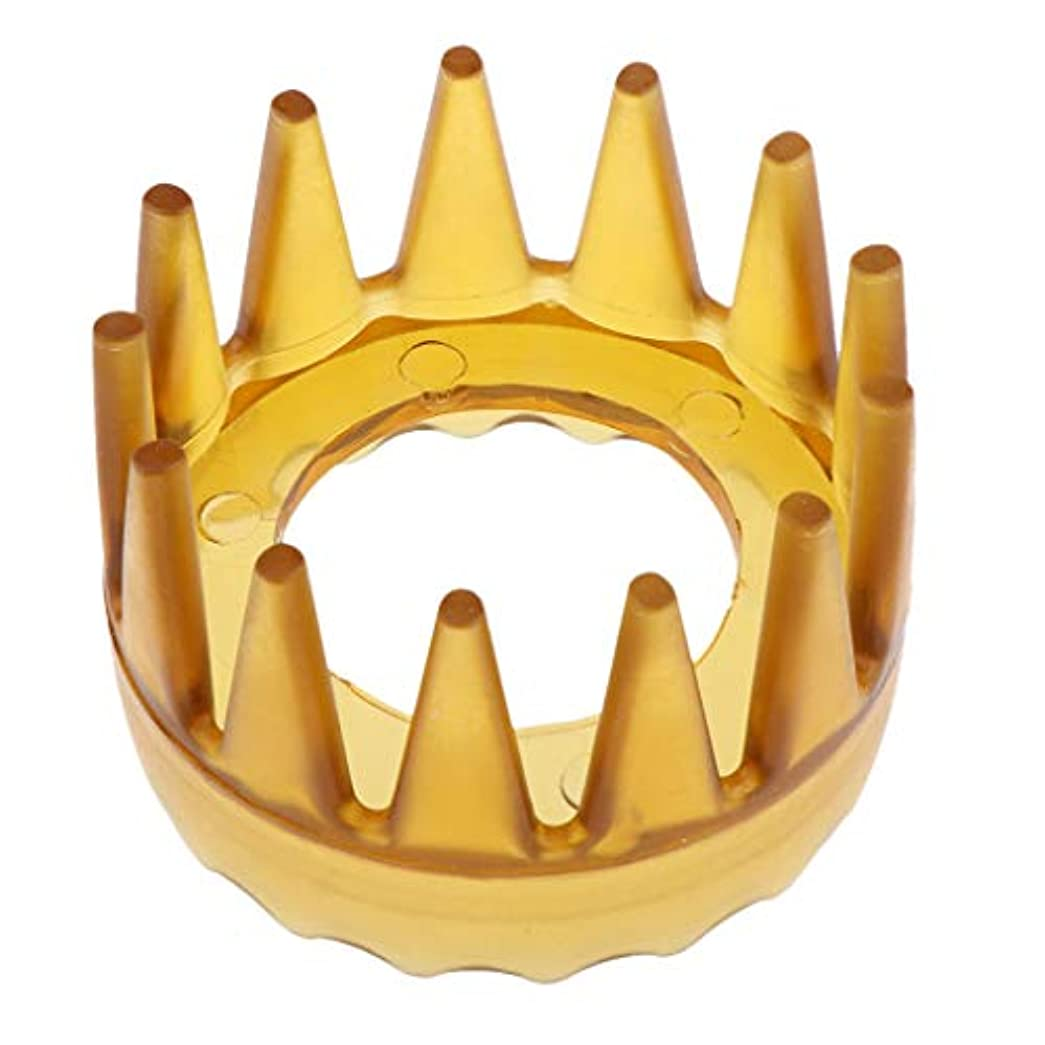 使用法暗記する慣性プラスチック製 シャンプーブラシ 洗髪櫛 マッサージャー ヘアコーム ヘアブラシ 直径約6cm 全4色 - 黄