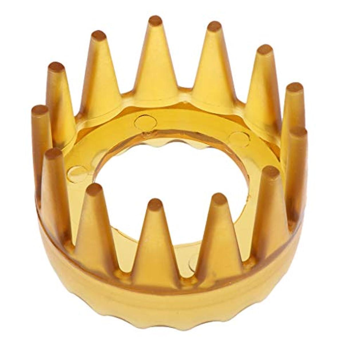 牛四回パンフレットプラスチック製 シャンプーブラシ 洗髪櫛 マッサージャー ヘアコーム ヘアブラシ 直径約6cm 全4色 - 黄