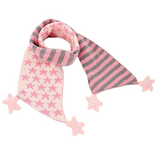 (アニヴェール) Anniverl キッズ 子供 マフラー おしゃれ かわいい 星柄 スター ストライプ ライトピンク