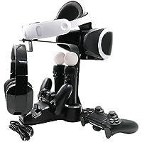 [FiSound]PSVR充電スタンド PS4ワイヤレスコントローラー(dualshock 4)*2台モーションコントローラー(PlayStation Move)*2台同時充電 4充電ステーション PS4/PlayStation Move/ヘッドホンホルダー PlayStation 4/4s/4pro VRに適用 ブラック