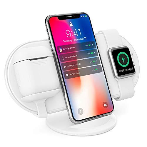 Vinpok Plux ワイヤレス充電器 Qi 急速充電 10W/7.5W/5W出力 3in1 3台同時に充電可能 スタンド&パッド2WYA仕様 USB Type-C 充電安全 iPhoneXS Max/XS/XR/X/8Plus/8/Android/AirPods/Apple Watch/他Qi機種対応 コンパク 約177g軽量 収納袋付き 持ち運びに便利 日本語取扱説明書付 (白色)
