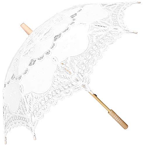 日傘 レース日傘 日傘折りたたみ 日傘 超軽量uvカット率100% 白いレース傘 長傘 姫 傘 花嫁用/結婚式/道具撮影用