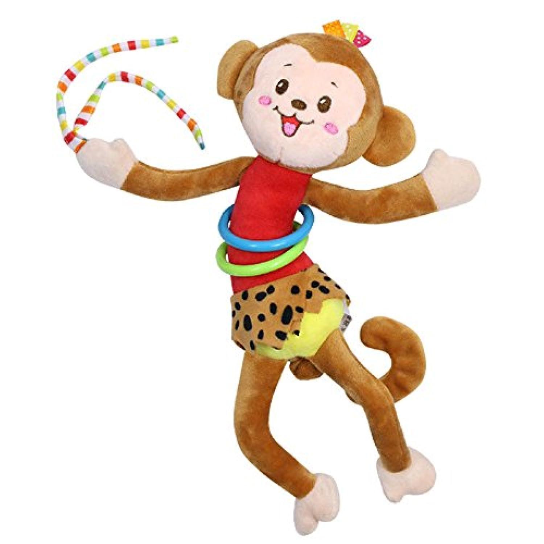 Monkey動物リングBell Baby Plush Rattles Squeaker Cute Cartoon Pull衝撃赤ちゃんおもちゃ