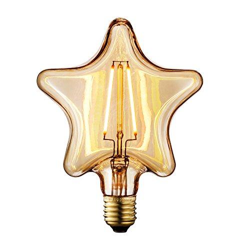 RoomClip商品情報 - TRANSTEC® Edison Bulb フィラメントLED電球 口金E26 交流100-120V 電球色 ゴールドガラス電球 広い調光範囲 器具装飾用 (星型, 2w)