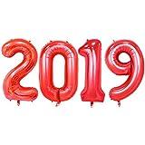 2019 ホイルバルーン ヘリウム マイラーバルーン 数字 バルーン 卒業パーティー用品 40インチ - レッド