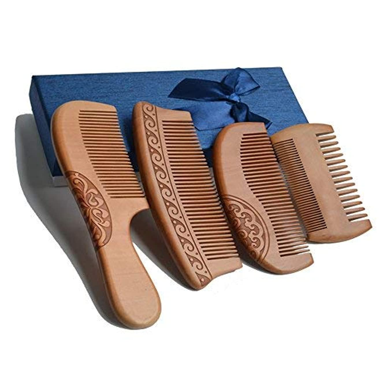 4Pcs Wooden Hair Comb No Static Hair Detangler Detangling Comb with Premium Gift Box [並行輸入品]