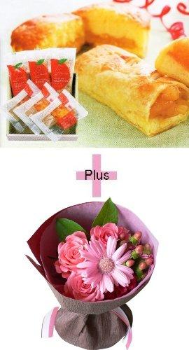 誕生日プレゼント ピンク花束&モンドセレクション金賞アップルパイギフトセットB お母さんへのメッセージカード付き (SE)