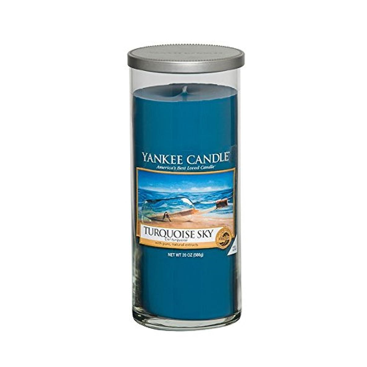 補充静けささわやかYankee Candles Large Pillar Candle - Turquoise Sky (Pack of 2) - ヤンキーキャンドル大きな柱キャンドル - ターコイズの空 (x2) [並行輸入品]