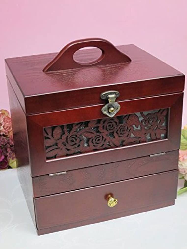 上に築きます回復する実行する木製 コスメティックボックス アンジェラ メイクボックス 化粧箱 化粧品 コスメボックス