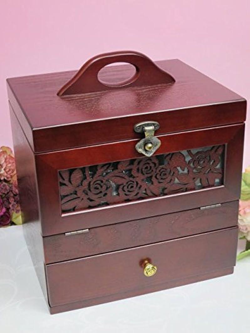 鉄道魅惑的な首謀者木製 コスメティックボックス アンジェラ メイクボックス 化粧箱 化粧品 コスメボックス