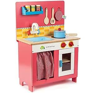 tender leaf toys 木製 チェリーパイキッチン かわいいイギリスデザインの小さなおままごとキッチン 収納付 ごっこ遊び 男の子 女の子 ままごと 知育玩具