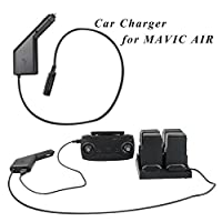 RCstyle DJI Mavic Air車充電器アダプタデュアル充電器インテリジェント高速充電4バッテリーと1送信機(USBポート) for DJI Mavic Air元充電ハブ、ブラック